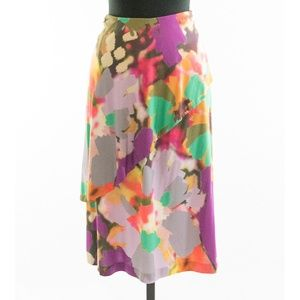 Etro Abstract Floral Tiered Skirt 48 Made in Italy